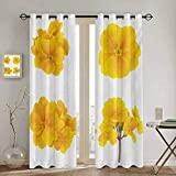 DONEECKL Yellow Flower Room Darkened Heat Insulation Curtain Gardening Themed Collection with Little Tender Primrose Primula Blossoms 2 Panel Sets W55 x L63 Inch Mustard White