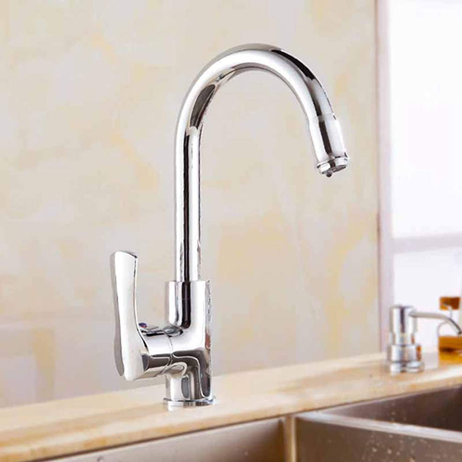 FZHLR Kitchen Faucet Cold and Hot Water Chrome∕gold∕pink gold Brass Kitchen Sink Faucet Single Handle Deck Mounted Mixer Taps 360 Swivel,Chrome