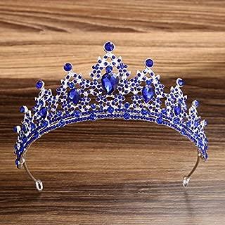 Rhinestone Crystal Diadem Headpiece Women Girl Birthday Tiaras Wedding Brides Hair Accessories (blue)