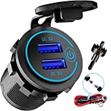 12V USB Outlet, AlfredDireck Dual Quick Charge 3.0 USB Car Charger with 1.1inch Puncher, Waterproof 36W USB Power Outlet Fast Charge with Switch for 12V/24V Marine Boat Motorcycle Truck Golf Cart