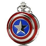 Designer Inspirations Boutique ® - Reloj de bolsillo con cadena con carcasa en acabado plateado pulido, estilo retro/vintage, diseño escudo de Capitán América (cadena 80 cm)