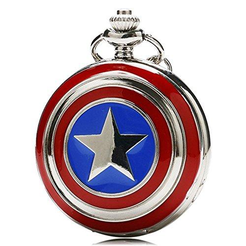Designer Inspirations Boutique - Reloj de bolsillo con cadena con carcasa en acabado plateado pulido, estilo retro/vintage, diseo escudo de Capitn Amrica (cadena 80 cm)