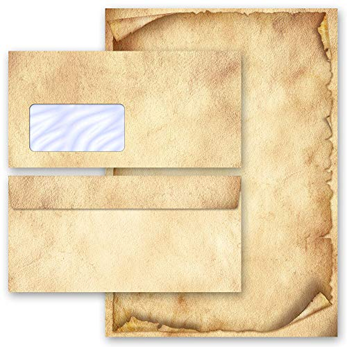 Briefpapier Sets Motivpapier Altes Papier Antik & History, ANTIK 100 Blatt Briefpapier + 100 passende Briefumschläge DIN LANG mit Fenster   Paper-Media