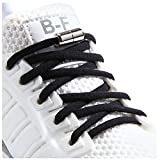 Booyckiy [2 Pairs] No Tie Elastic Shoelaces for Kids, Adults and Elderly - 12 Colors, Black(2 Pairs), 47inch