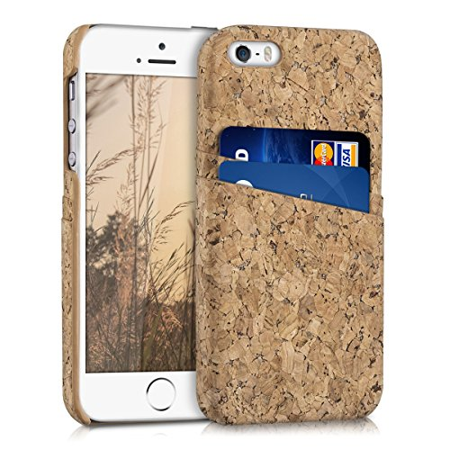 kwmobile 1x Funda dura compatible conApple iPhone SE / 5 / 5S - Case para móvil de corcho con tarjetero en marrón claro