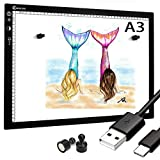 Tablero de copia LED, caja de luz superfina, almohadilla de dibujo, mesa de trazado, cable USB con brillo ajustable para artistas, animación, dibujo, animación, visualización de rayos X (A3-STK-black)
