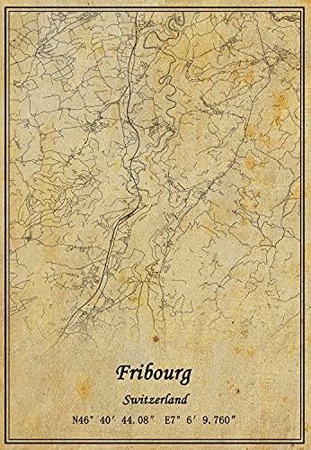 Kunstdruck auf Leinwand, Motiv Schweiz Fribourg, Vintage-Stil, ungerahmt, Dekoration, Geschenk, 50,8 x 76,2 cm