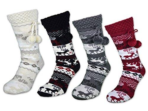 1 Paar Damen Kuschelsocken mit ABS Anti Rutsch Sohle - warme Damen Socken - dicke Haussocken - 71300 (39-42, Rot)