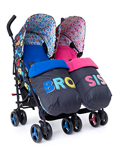 Cosatto Supa Dupa Double/Twin Stroller – Pushchair from Birth, Lightweight, Bro and Sis 6