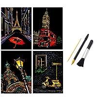 スクラッチアートシティナイト風景画紙、DIYスクラッチボード描画用用品