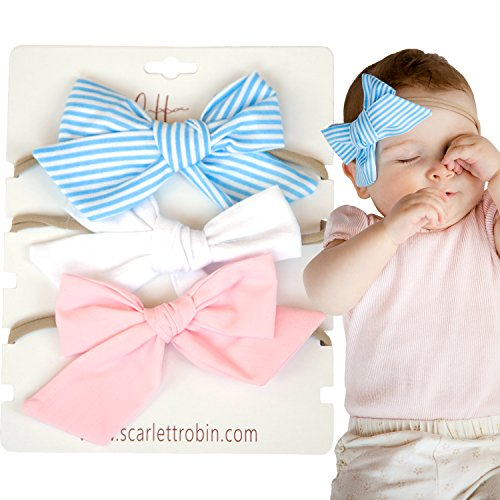 """3 Hair Bows for Girls and Babies on Nylon Headbands Multi-Pack {""""Pretty In Pinstripes""""}"""