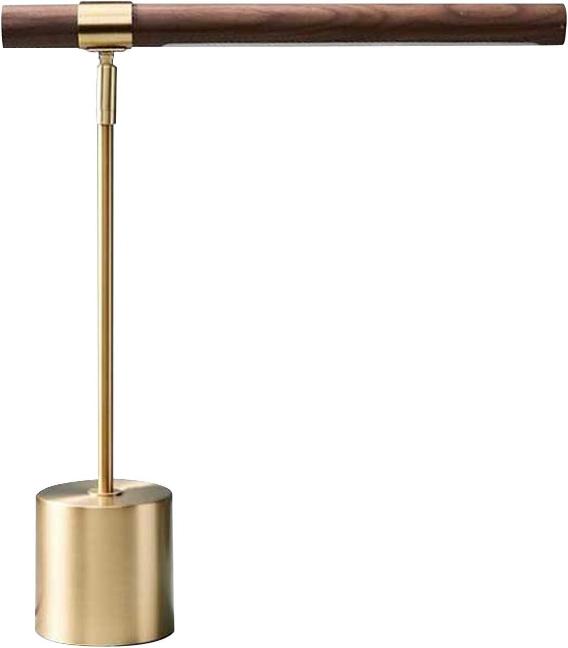 Modern Banker Slim Table Lamp - LED Desk Light - Wood Brass Lamp - Adjustable Modern Table Lamp - Mid Century Desk Lamp for Home Library, Bedside Table, Office Desk - Steampunk MCM Mid Modern Century