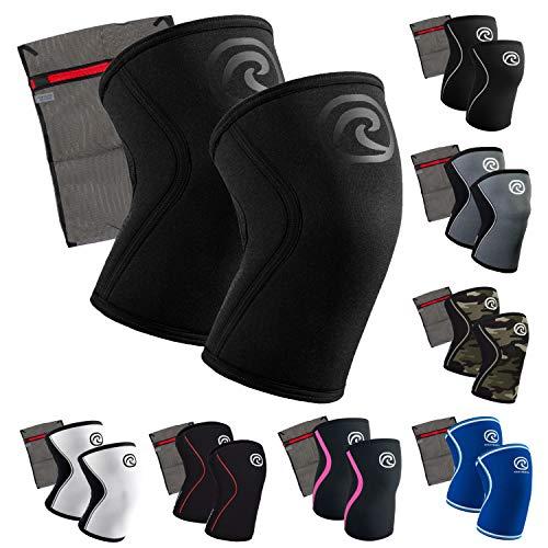 Rehband 7 mm Neopren Kniebandage [1 Paar] - Kniestütze + Ziatec Wäschenetz - Power-Edition, Größe:M, Farbe:Carbon