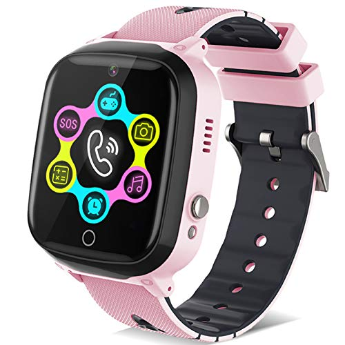 Smart Watch for Kids - Kids Smart Watch Boys Girls with Two Way Calls,SOS,Puzzle Games,Camera,Alarm Clock,Music Player,Calculator,Touchscreen Kids smartwatches for Boys Girls Children 4-12 (Pink)