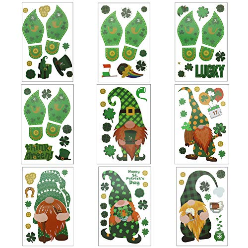 St. Patrick's Day Window Clings, Irish Luck Clover Glass Static Sticker ,Beard Gnome Decor Decals,for Home Party, Door,Decorations(Green,9 Sheet)