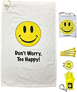 Giggle Golf Par 3 with Mini Golf Glove Key Chain - Don't Worry Tee Happy Towel, Tee Bag, Bling Ball Marker with Hat Clip, and Mini Golf Glove Key Chain – Perfect Golf Gift for Women