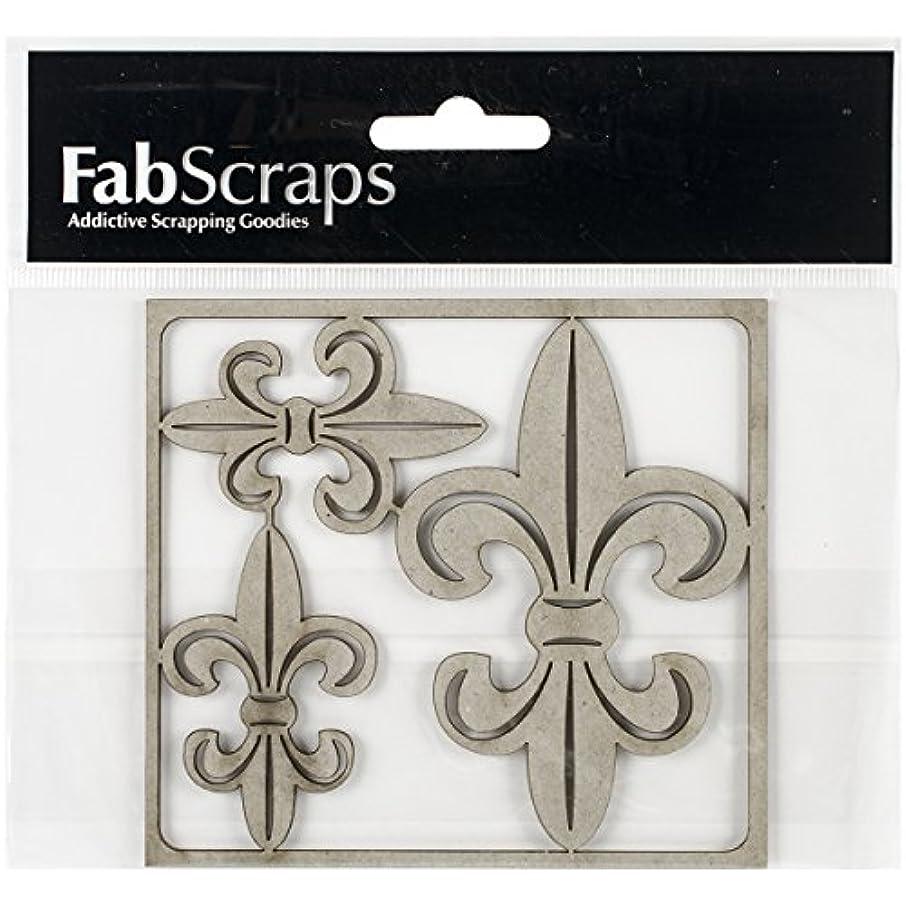 FabScraps Die-Cut Gray Fleurs Chipboard Embellishments, 4 x 4