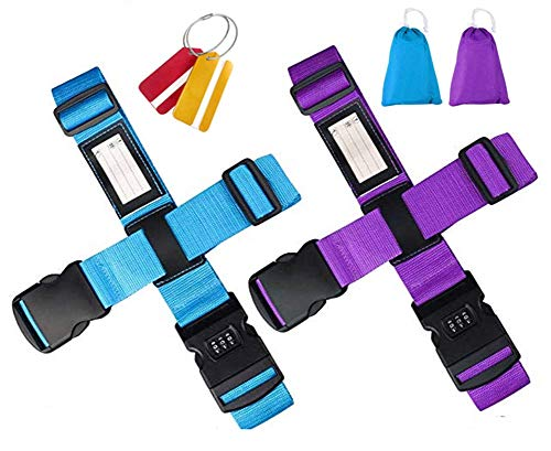 Adjustable Luggage Straps, Buluri Non-slip Suitcase Straps Luggage Strap + Password Lock Clip + FREE 2 Luggage Tag Travel Straps for Luggage and Identify Bag Strap on Vacation & on Trip