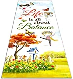 """Yoga Mat """"Life Is All About the Balance"""", 1/4 Inch Thick, Exercise Mats for Fitness, Gift Idea on Yoga's International, Mother's Day, Birthday for Daughter, Sister, Friends, 24W×70L"""