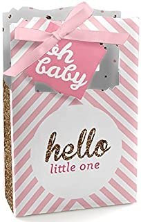 Hello Little One - Pink and Gold - Girl Baby Shower Favor Boxes - Set of 12