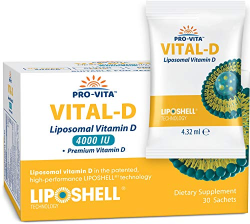 PRO-VITA Liposomal Vitamin D - High Absorption | Essential Phospholipids | for Healthy Bones, Teeth, Heart & Immune Support, Non-GMO, Alcohol-Free, No Artificial Preservatives (4000 IU x 30 Sachets)