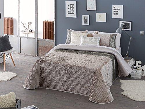 Textilhome - Colcha Bouti Jacquard ANDY - Cama 180cm - Color Beig