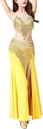 TAAMBAB Professionnelle de Danse du Ventre Costume Couleur Unie Costume Halloween Carnaval scène, Soutien-Gorge perlée + Perles écharpe + Jupe de Split