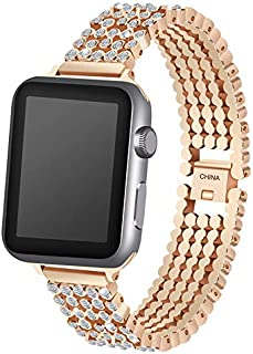 Ozone 38mm Apple Watch Strap Rhinestone Diamond Stainless Steel Replacement Band For 38mm Series 1/2/3 - Rose Gold