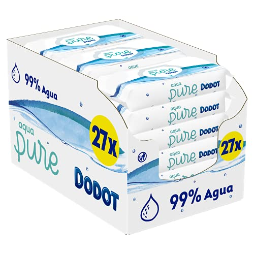 Dodot - Toallitas Aqua Pure para Bebé, 99 % Agua, 1.296 Toallitas, 27 Paquetes (27 x 48)