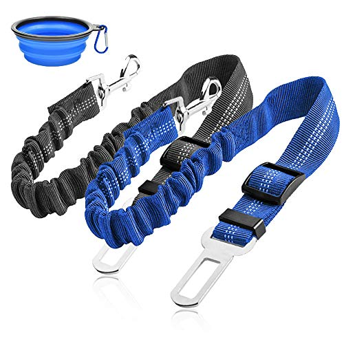 Dog Seat Belt, Upgraded2 Packs Retractable Dog Car Seat Belts Adjustable Heavy Duty & Elastic & Durable Dog Cat Car Harness with Elastic Bungee Buffer for Travel Shock Attenuation(Black+Blue)