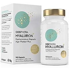 Hyaluronsyrakapslar - Högdos med 500 mg per kapsel. 90 veganska kapslar på 3 månader i lager - 500-700 kDa - Berikad med zink, C-vitamin, B12 & bioflavonoider - För hud, anti-aging och leder
