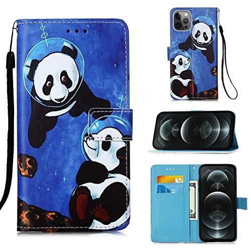 MUTOUREN Funda iPhone 12 Pro MAX, con Gratis Protector Pantalla, Cuero PU y TPU Silicona Carcasa Wallet Case Flip Cover con Ranuras Tarjetas Cierre Magnético, Buceo Panda
