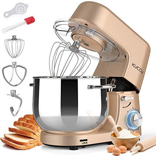KUCCU Stand Mixer, 8.5 Qt 660W, 6-Speed Tilt-Head Food Dough Mixer, Electric Kitchen Mixer with Dough Hook, Flat Beater & Wire Whisk, Mixing Bowl (8.5-QT, Gold)