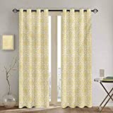DONEECKL Yellow and White Kitchen Curtain Ornate Floral Pattern with Swirls Curls Symmetrical Overlap Motifs for Living Room or Bedroom W52 x L95 Inch Pale Yellow White