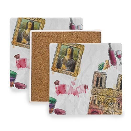 FANTAZIO Mona Lisa Triomfboog Cup Mat Coaster voor Wijnglas Thee Coaster met variërende patronen Geschikt voor soorten mokken en bekers 4 pieces set 1 exemplaar