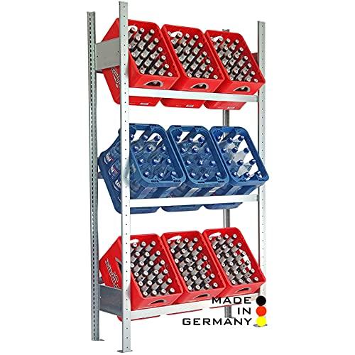 Lagerknecht Getränkekistenregal 9 Kisten Made in Germany professionelle Ordnung für Kisten; Regal für Getränkekisten, Getränkeregal, Wasserkistenregal, Bierkistenregal