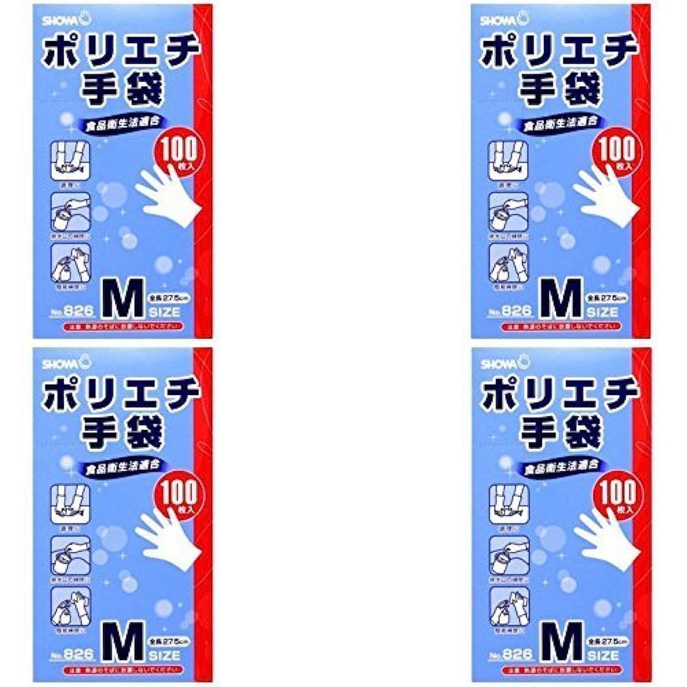 歩き回る茎チャペル【まとめ買い】826 ポリエチ手袋M 100枚入【×4個】