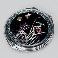 螺鈿細工 2倍率の拡大鏡付き メタル 丸型 花柄(蘭)  両面コンパクトミラー【ブラック】