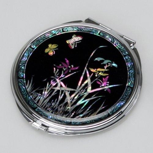 Mother of Pearl Noir Art Double en Métal Compact Maquillage Lady miroir avec motif orchidée