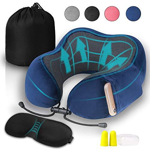 Vivibel Reis-nekkussen met slaapbril, oordopjes en draagtas, zacht en comfortabel reiskussen, ideaal voor vliegtuig, auto, thuis en kantoor enz.