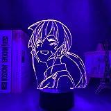 Food Wars Shokugeki No Soma 3d Luz de Noche Portátil USB Recargable Blanco cálido y Cambio de Color RGB Tocar con Control Mesita de Noche Lámparas de Escritorio para Dormitorio