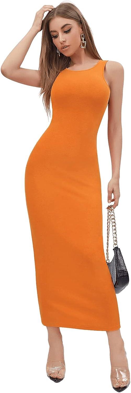 Verdusa Women's Basic Round Neck Sleeveless Solid Bodycon Maxi Long Dress