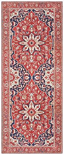 Elle Decor Design Teppich Läufer orientalisch Täbriz (80 x 200 cm, 100% Polyester, Fußbodenheizung geeignet, robust, einfache Reinigung), Orientrot