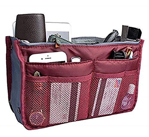 Insert Bag Organizer, Bag in Bag for Handbag Purse Organizer (13 Pockets, Black/White)