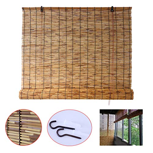 Zhaomi Carbonized Bamboo Blind Roller Shades,Reed Curtain,Door and Window Privacy Blinds,Retro Waterproof Sunscreen,for Garden/Balcony/Pavilion (90x120cm/35x47in)
