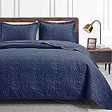 Love's cabin King Size Quilt Set Navy Blue Bedspreads - Soft Bed Summer Quilt Lightweight Microfiber Bedspread- Modern Style Coin Pattern Coverlet for All Season - 3 Piece (1 Quilt, 2 Pillow Shams)