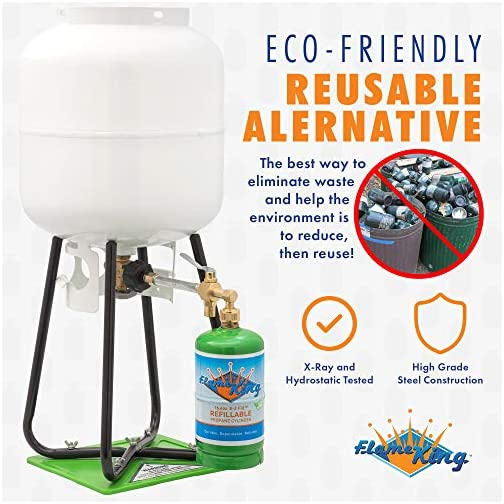 Flame King Refillable 1 lb Empty Propane Cylinder Tank - with Refill Kit and CGA600 Connection - Reusable - Safe and… 5