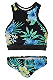 La-V Mädchen Bikini Zweiteilig Sport Hibiskus Blau-Türkis/Größe 152/158