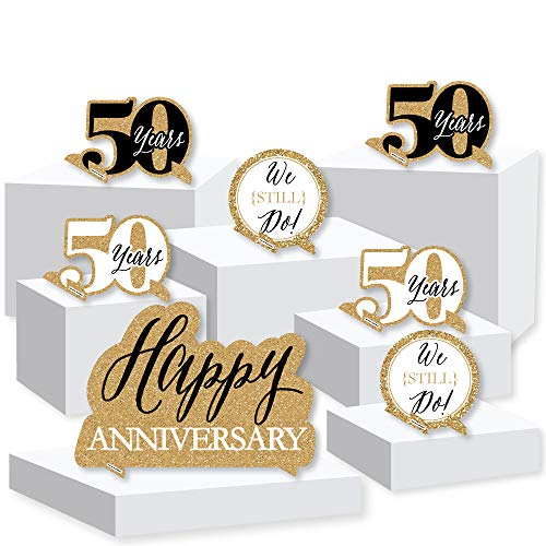 Big Dot of Happiness We Still Do - 50th Wedding Anniversary - Anniversary Party Centerpiece Table Decorations - Tabletop Standups - 7 Pieces