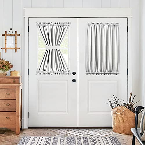 Vangao French Door Curtain Privacy Protect Glass Door Curtain Greyish White Curtain Panel for Front Door with Tieback W54 x L40 One Panel